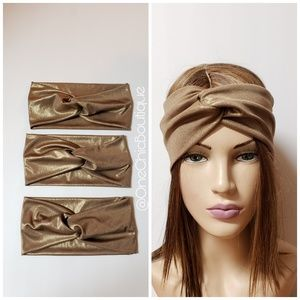 Lot of 3 Metallic Gold Turban Headbands, Wraps